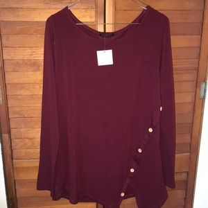 Long sleeve maroon button up